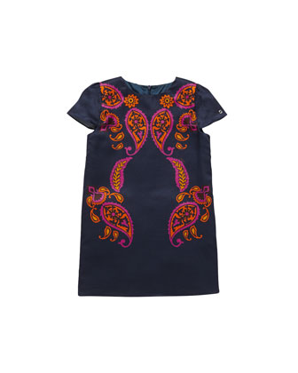 Paisley-Print Shift Dress, Multi, Sizes 4-10
