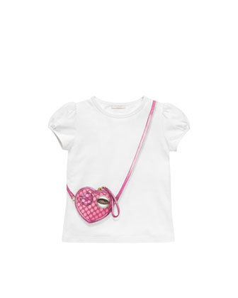 Heart-Bag-Print Jersey Tee, Cream, Sizes 4-10