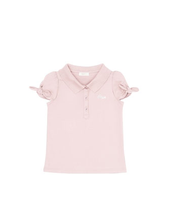 Bow-Sleeve Polo Shirt, Light Pink, 4Y-10Y