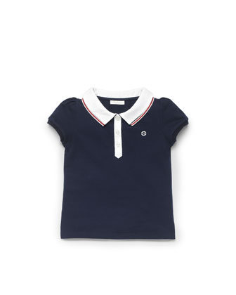 Web-Detail Pique Polo, Blue, Sizes 4-10