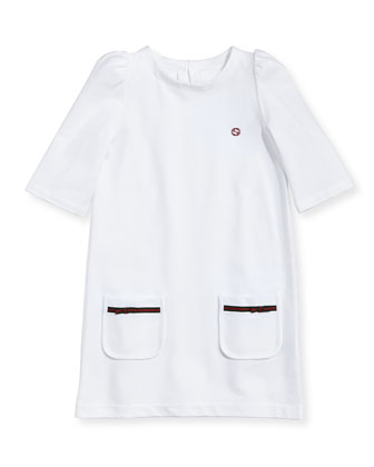Pique Patch-Pocket Dress, White, 4Y-10Y