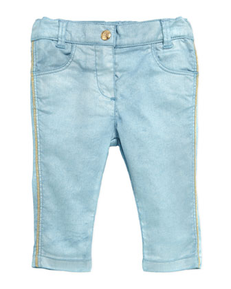 Pearlized Pants with Metallic Stitching, Blue, Sizes 3-18 Months