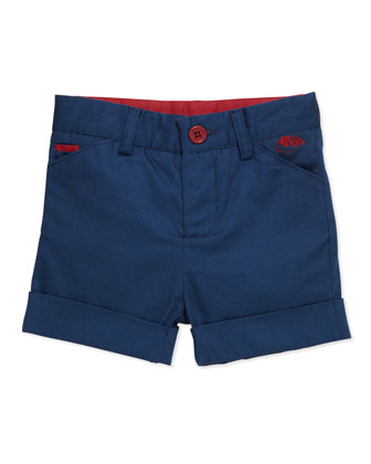 Stretch-Cotton Mouse-Pocket Shorts, Blue, 3-18 Months