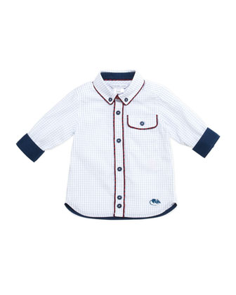 Woven Graph-Check Shirt, Blue, 3-18 Months