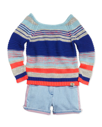 Metallic Knit Sweater & Two-Tone Denim Shorts, Sizes 6-10