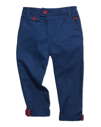 Tapered Twill Pants, Blue, Sizes 2-5