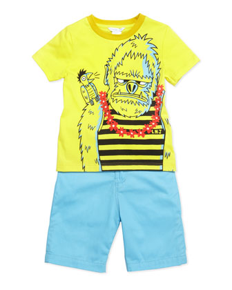 Gorilla-Print Short-Sleeve Tee & Cotton-Twill Shorts, Sizes 6-10