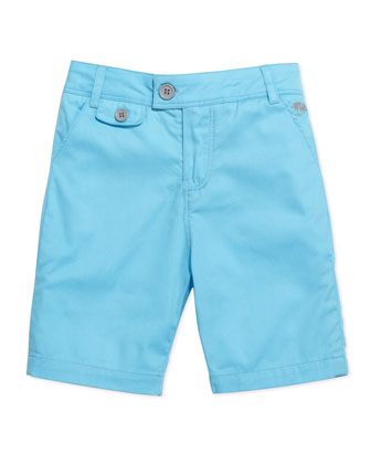 Cotton-Twill Mouse-Pocket Shorts, Light Blue, Sizes 2-5