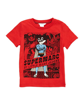 Printed Supermarc Tee, Red, Sizes 2-5