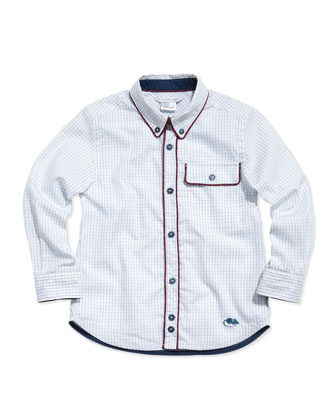 Woven Graph-Check Shirt, Blue, Sizes 2