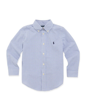 Custom-Fit Poplin Dress Shirt, Blue, 2T-3T