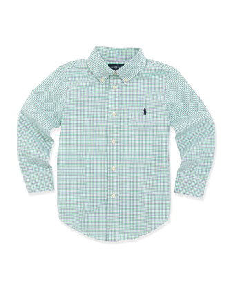 Custom-Fit Poplin Dress Shirt, Green, Sizes 4-7