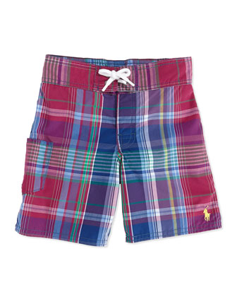 Tulum Plaid Swim Trunks, Red, Boys' 4-7