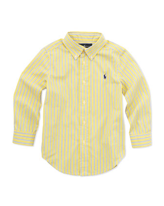 Striped Long-Sleeve Blake Shirt, Yellow, 2T-3T