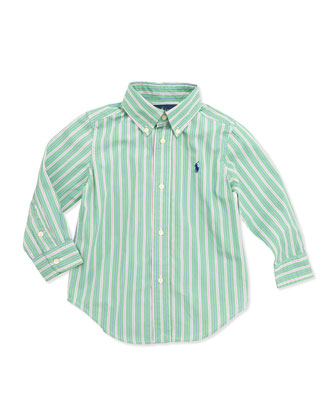 Blake Multi-Stripe Poplin Shirt, Green, Boys' 4-7