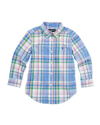 Plaid Long-Sleeve Blake Shirt, Blue Multi, Sizes 4-6
