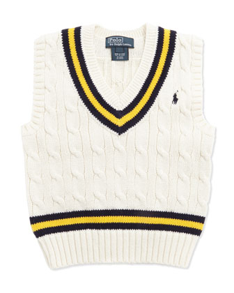Cricket Cable-Knit Vest, Cream, Toddler Boys' 2T-3T