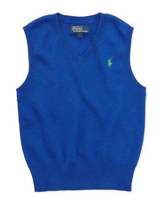 V-Neck Sweater Vest, Blue, 2T-3T
