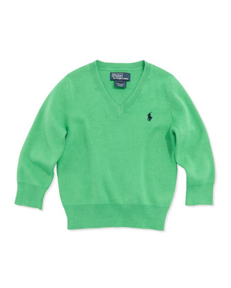 Long-Sleeve V-Neck Sweater, Green, Boys' 4-7