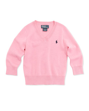 Long-Sleeve V-Neck Sweater, Pink, Boys' 4-7