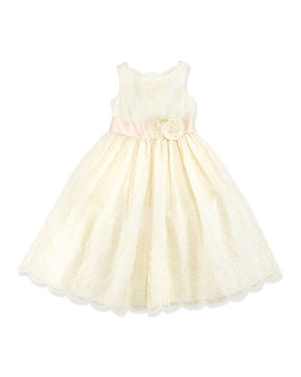 Embroidered Silk Organza Dress, Girls' 4-6X