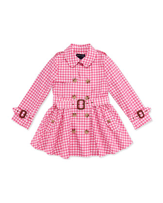 Gingham Full-Skirt Trench Coat, Pink, Girls' 4-6X