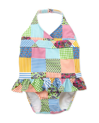 Patchwork One-Piece Swimsuit, Sizes 4-6X