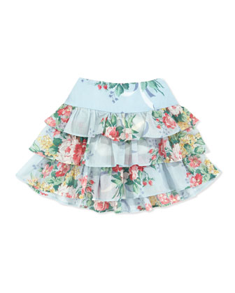 Floral Ruffle Skirt, Blue, Sizes 4-6X