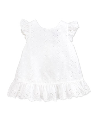 Little Spring Eyelet Top, White, Girls' 4-6X