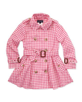 Gingham Full-Skirt Trench Coat, Pink, 2T-3T