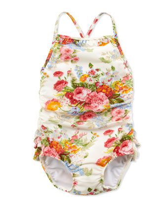 Floral-Print One-Piece Swimsuit, White, 2T-3T