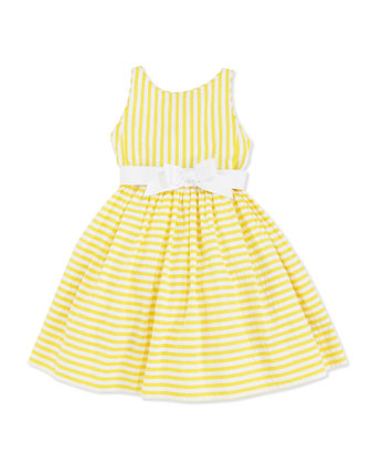 Vintage Seersucker Dress, Yellow, 2T-3T