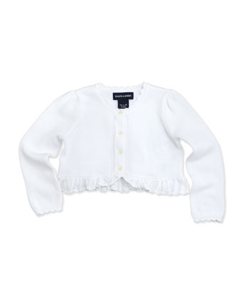 Precious Long-Sleeve Knit Shrug, White, 2T-3T