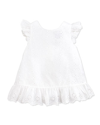 Little Spring Eyelet Top, White, 2T-3T