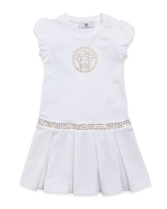 Medusa Drop-Waist Dress, White Gold, Sizes 2-6