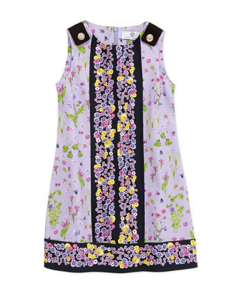 Floral-Print Sleeveless Dress, Lilac/Black, 2-6