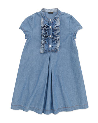 Chambray Ruffle-Front Dress, Blue, 6-8