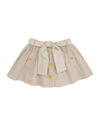 Pleated Skirt with Logo Belt, Sand, Girls' 6-8