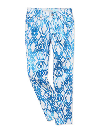The Skinny Geometric Girls' Jeans, Blue, Sizes 4-6X
