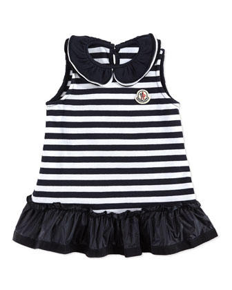 Abito Striped Sleeveless Dress, Navy/White, 3-24 Months
