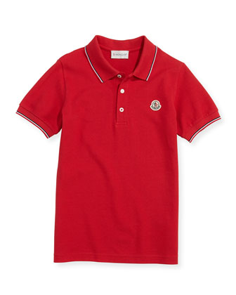 Tipped Logo Polo, Red, Boys' 8-10