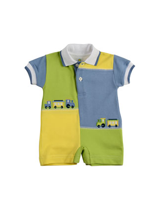 Chug Along Colorblock Short-Playsuit, Blue/Green/Yellow, 3-9 Months