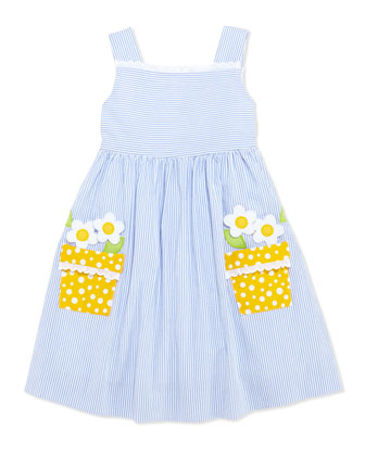 Girls' Flower-Pot Seersucker Dress, 4-6X
