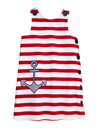 Girls' Anchor Pique Shift Dress, White/Red, 4-6X