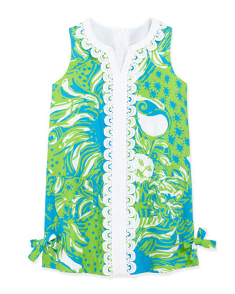 Little Lilly Jungle-Print Classic Shift Dress, Limeade, Sizes 2-10