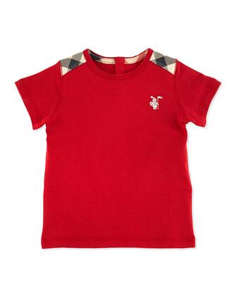 Toddler Boys' Check-Shoulder Tee, Red