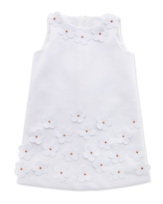 Floral-Applique Shift Dress, White, Sizes 2-6