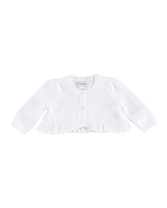 Precious Long-Sleeve Knit Shrug, White, 9-24 Months