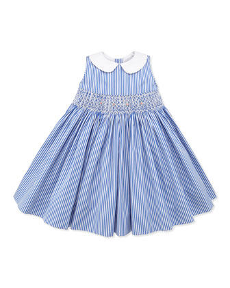 Bengal-Stripe Smocked Dress, Blue, 9-24 Months