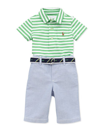 Stripe Jersey Polo & Oxford Pants Set, 9-24 Months